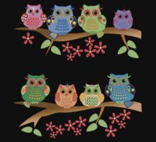 Cute colourful owls on branches One Piece - Short Sleeve
