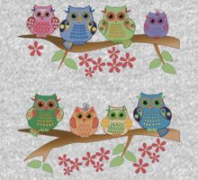 Cute colourful owls on branches One Piece - Long Sleeve