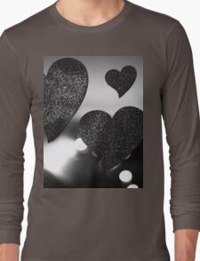 Four love hearts in silhouette night bokeh dof photo T-Shirt