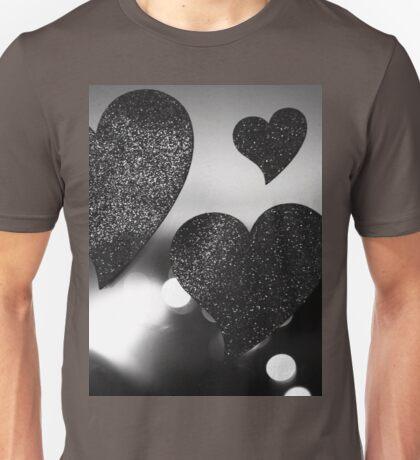 Four love hearts in silhouette night bokeh dof photo Unisex T-Shirt