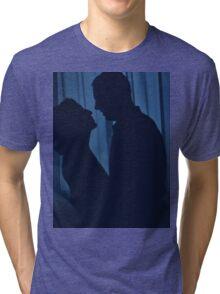 Blue silhouette couple kissing analogue film photograph Tri-blend T-Shirt