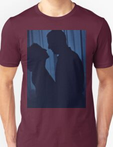 Blue silhouette couple kissing analogue film photograph T-Shirt