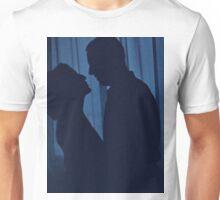 Blue silhouette couple kissing analogue film photograph Unisex T-Shirt