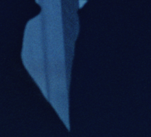 Blue silhouette couple kissing analogue film photograph Sticker