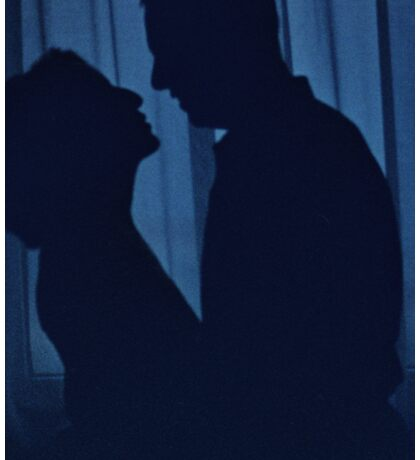 Blue silhouette couple kissing analogue film photograph Sticker
