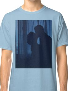 Blue silhouette couple kissing analogue film photograph Classic T-Shirt