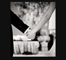 Wedding couple bride groom holding hands back and white photo Unisex T-Shirt