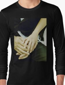 Wedding couple bride groom holding hands analogue film photography Long Sleeve T-Shirt