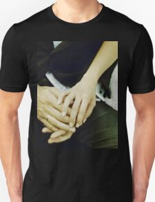 Wedding couple bride groom holding hands analogue film photography Unisex T-Shirt