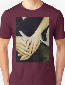 Wedding couple bride groom holding hands analogue film photography T-Shirt