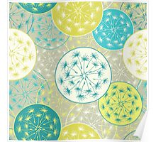 Pattern with decorative dandelion Poster