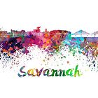 Savannah skyline in watercolor by paulrommer