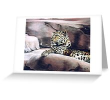 """""""Leopard Lounging"""" Greeting Card"""