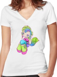 Punk Rock Kitty Girl Women's Fitted V-Neck T-Shirt
