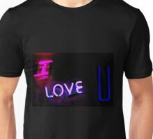 I love you neon light sign at night photograph romantic designs Unisex T-Shirt