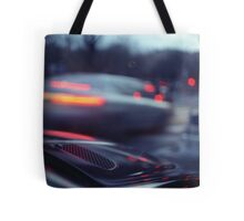 City lights cars in street at dusk Hasselblad medium format analog film Tote Bag