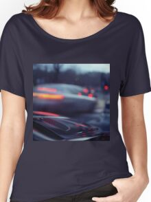 City lights cars in street at dusk Hasselblad medium format analog film Women's Relaxed Fit T-Shirt