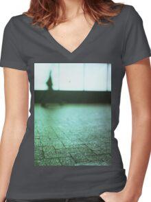 Man walking in city street Hasselblad medium format analog film Women's Fitted V-Neck T-Shirt