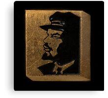 Soviet badge Lenin black  profile Canvas Print