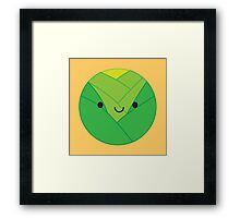 Kawaii Brussels Sprout / Cabbage Framed Print