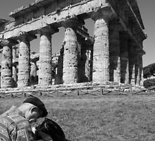 Paestum: temple and artst by Giuseppe Cocco