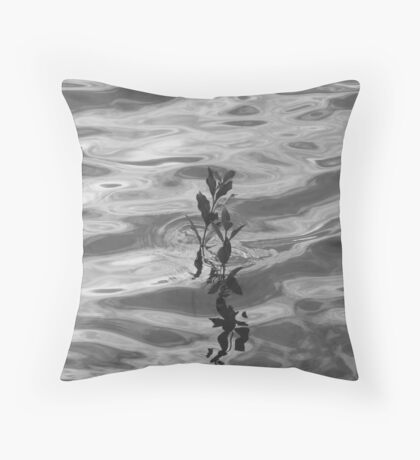 B&W-Lonely Mangrove Reflections Throw Pillow