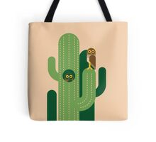 Burrowing owls and cacti vector illustration Tote Bag