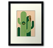 Burrowing owls and cacti vector illustration Framed Print
