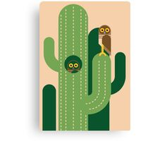 Burrowing owls and cacti vector illustration Canvas Print