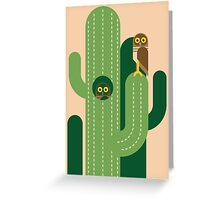 Burrowing owls and cacti vector illustration Greeting Card