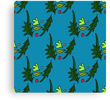 seamless pattern of leaves on the blue background Canvas Print