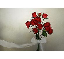 Scarlet Roses with White Ribbon Photographic Print