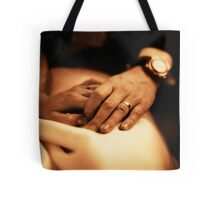 Bride and groom holding hands sepia black and white film silver gelatin fine art analog wedding photo Tote Bag