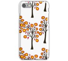 seamless pattern with autumn trees on the white background iPhone Case/Skin