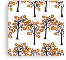 seamless pattern with autumn trees on the white background Canvas Print