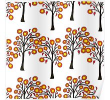 seamless pattern with autumn trees on the white background Poster