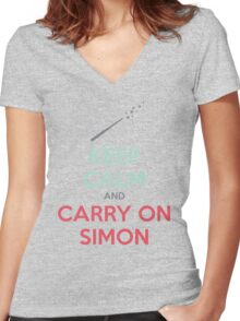 Keep Calm and Carry On Simon (Multi-Color Text) Women's Fitted V-Neck T-Shirt
