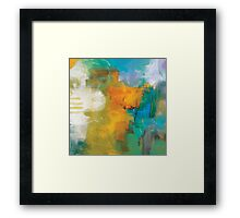 Abstract Orange Blue Print from Original Painting  Framed Print