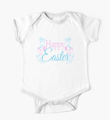 Happy Easter Flowers Design One Piece - Short Sleeve