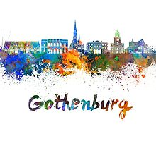 Gothenburg skyline in watercolor by paulrommer
