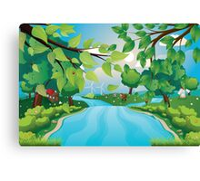 Hills and River Canvas Print