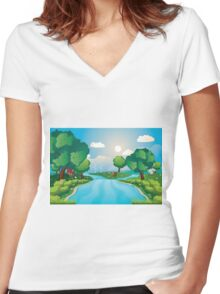 Hills and River 2 Women's Fitted V-Neck T-Shirt