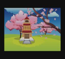 Oriental House and Blooming Sakura Kids Clothes