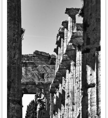 Paestum: girl photographer in the temple Sticker