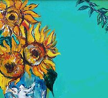 SUNFLOWERS IN BLUE TURQUOISE by BulganLumini