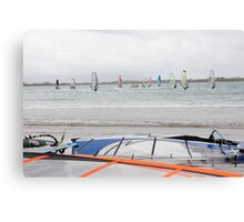 wind surfers racing in the gales Canvas Print