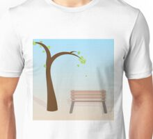 Spring tree with bench Unisex T-Shirt