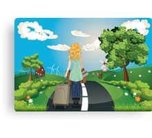 Summer Landscape with Girl Canvas Print