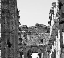 Paestum: photographer girl in the temple by Giuseppe Cocco