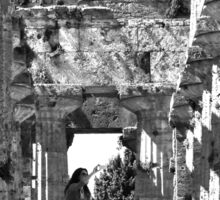 Paestum: photographer girl in the temple Sticker